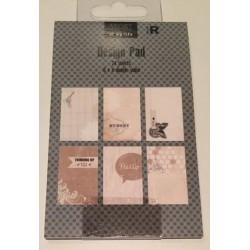Lille Notes bog med 24 sider med forskellige flotte designs.