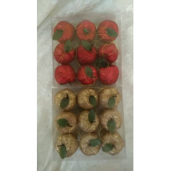 Glimmer æbler - pakke med 9 stk. - 2 farver