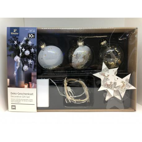 Luksus Jule Glas kugler i flot Gaveæske med Lys i  sættet med 5 dele  fra Tchibo