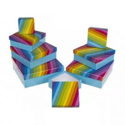 Luksus Gaveæske Sættet med 8.stk i stribet Rainbow Farver - 101695
