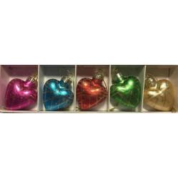 Super flotte Glas Jule hjerter med 5.stk i pakkerne til Jule Træet. H. 5.cm B. 4.cm