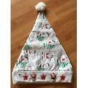 Nissehue i Hvid & Rød  med lys i huen og glimmer - Jule Tilbud