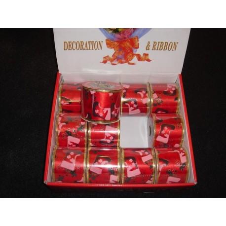 Smuk Jule deco bånd  har ståltråd i kanten, brede ca. 6 cm.